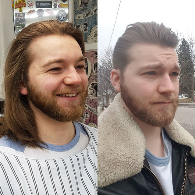 before and after haircut